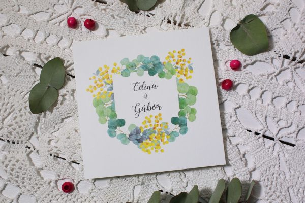RR009 - Digitális rajz, sárga apró virág, eukaliptusz levelekkel